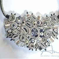Statement necklace white grey, bib necklace, textile necklace from Cloud Design Collection - Contemporary jewels OOAK ready to ship