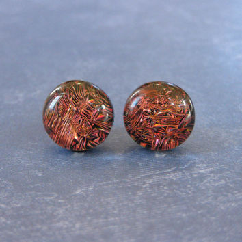Dichroic Red Post Earrings, Hypoallergenic Studs, Womens Fashion Jewelry, Fused Glass Jewelry, Modern Evening Accessories - Rosie - 2400 -4