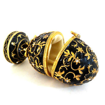 Faberge Style Egg, Music Box, Trinket Box, Large and Very Heavy, Black and Gold, Rhinestones, Ornate Gold Floral, Gorgeous