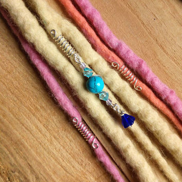 Set of 3 Crystal dread bead,turquoise stone dread bead, silver wire dread beads, Dread accessories, festival hair