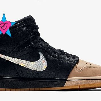 Crystal Rhinestone Women Air Jordan 1 Retro High Premium Black
