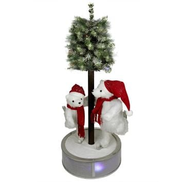 "16"" Potted Two-Tone Artificial Grass Double Ball Topiary Tree"