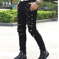 Mens Punk Skinny Pants For Man Cool Cotton Casual Pants Zipper Slim Fit Black Goth Trousers