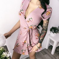 SMALL ONLY- Mila Floral Wrap Dress
