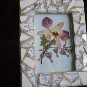 Blue and  White Pottery Frame, 4 x 6, Pressed Orchid, Mosaic, Recycled, Shabby Chic,  Housewarming, Home Decor, Frame