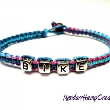 Bike Hemp Bracelet, Blue and Purple Macrame Hemp Jewelry, Made to Order