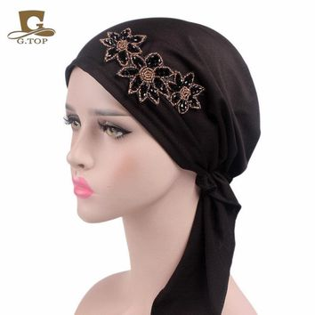 New Fashion Beaded Flower Stretchy Pre-Tied Head Scarf Head Wrap Scarves Chemo Cap Women Turban Hair Loss Bandana Lady Turbante