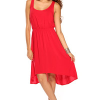 Red Sleeveless Casual Spring High Low Dress