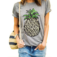 2017 Women New Brand Oversized Casual Summer Designer Grey Round Neck Short Sleeve Printed Plus Size T-Shirt 61320