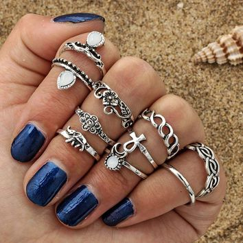 10p Women Punk Vintage Knuckle Rings Tribal Ethnic Hippie Stone Joint Ring Set