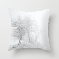 Three trees in the fog Throw Pillow by Guido Montañés