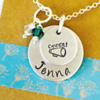 Cheerleading Necklace, Cheerleader necklace, Cheer Necklace, Cheerleading Tream, Megaphone Necklace, Personalized Cheerleading Necklace