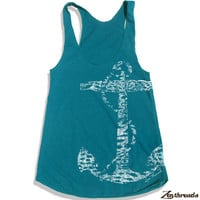 Womens Vintage ANCHOR american apparel Tri-Blend Racerback Tank Top S M L (9 Color Options)