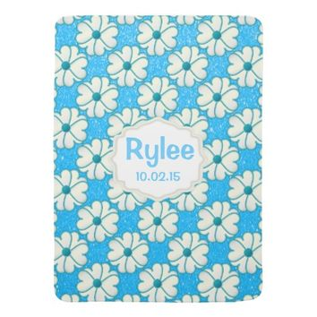 Blue Flowers on Glitter Blue Background Baby Blankets