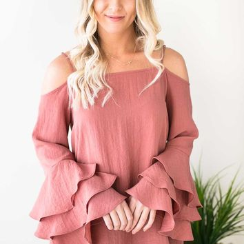 Unforgettable Tiered Ruffle Sleeve Tunic - Clay