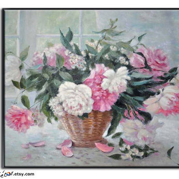 Floral/Flower Painting, Impression Style, Oil On Linen Canvas, By Frank.