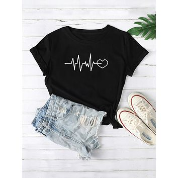 Heart And Graphic Short Sleeve Tee