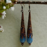 Gothic Copper Tone Blue Jade Earrings Free Worldwide Shipping