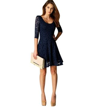 Summer Bodycon Peplum Flower Lace Dress Floral Vestidos Slash o-neck Sexy Short Evening Women Party Dres