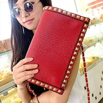 New 2016 Fashion Luxury Leather Women Crocodile Rivet Envelope Day Clutches Bags Evening Bags Chian Clutch Bag Clutches Party