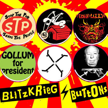"""SMALL 1.25"""" BLITZKRIEG BUTTONS - BUTTON OF THE DAY - S62"""