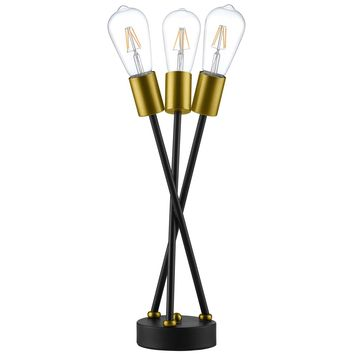 Bedeck Contemporary Table Lamp Matte Black and Brass Metal