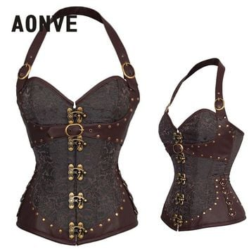 AONVE Steampunk Corset Brown Gothic Bodice Sexy Lingerie PU Leather Underbust Corsage Belt Modeling Strap Corsets And Bustiers