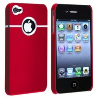 eForCity Snap-on Rubber Coated Case compatible with Apple® iPhone® 4 / 4S, Red with Chrome Hole Rea