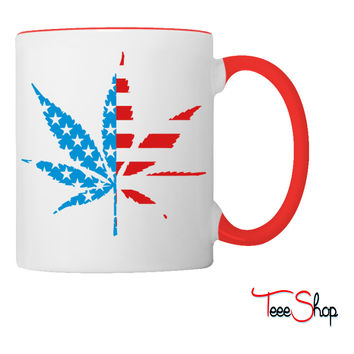Marijuana Leaf American Flag Coffee & Tea Mug