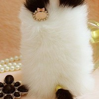 Cute Cat Fluffy Style Fur Case for Iphone 4 / 4s