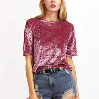 Pink Drop Shoulder Velvet Top
