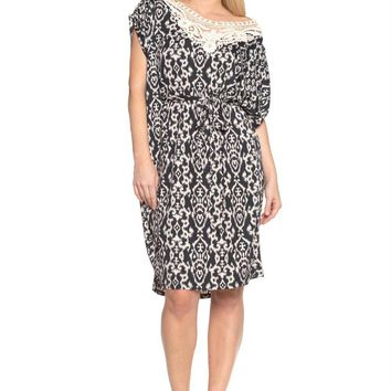 Ikat Print Dress with Crochet Yoke Trim