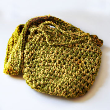 Lemon Lime Purse - Crocheted Wool - Drawstring Bag-  Handmade by The Hippie Patch
