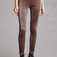 High-Waisted Velvet Leggings