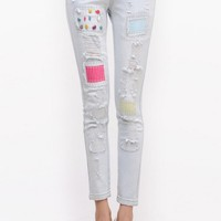 Chic Destroy Patched Pencil Jeans - OASAP.com