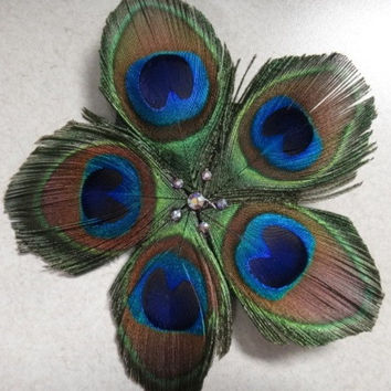 Peacock Feather Hair Accessory by ConchoPurl on Etsy