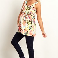 Ivory-Multi-Color-Floral-Sash-Tie-Draped-Back-Maternity-Top
