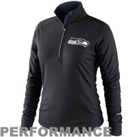 Nike Seattle Seahawks Womens Conversion Half-Zip Performance Jacket - Black