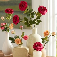 Faux Garden Rose Stem - Coral