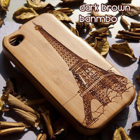 Eiffel Tower Hard Bamboo Skin Hard Case Cover for iphone4/4s/5 case