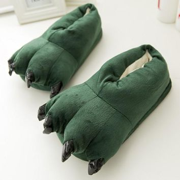 Animal Paw Dinosaur Monster Claws Slippers Winter Soft Plush Home Warm Soft Cotton Ind