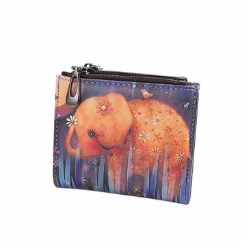 Women Elephant Wallet Vintage Coin Clip Purse