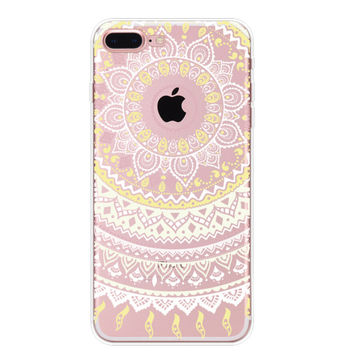 Yelloe White Lace Floral iPhone 7 7Plus & iPhone se 5s 6 6 Plus Case Cover +Gift Box-91