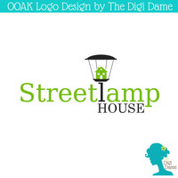 OOAK Premade Logo Design: Streetlamp/Lamp Post in Green and Black with House