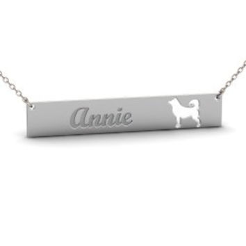Sterling Silver SIBERIAN HUSKY Dog Name Bar Necklace