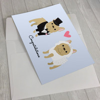 Wedding Card - Wedding French Bulldogs Greeting Card - Card for wedding - French Bulldog lover card - bride and groom French Bulldogs