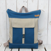 Canvas Backpack tote Unisex Beige petrol blue Laptop bag Zip top backpack