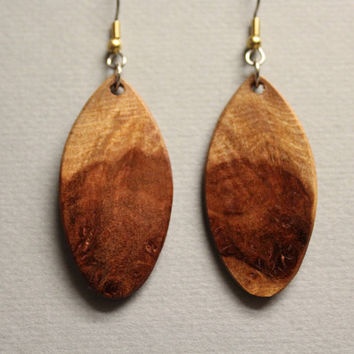Afzelia Burl Exotic Wood Earrings drop dangle Handcrafted ExoticWoodJewelryAnd Reclaimed repurposed