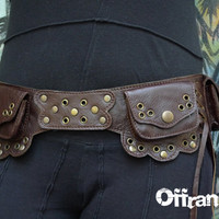 "Leather Utility Hip Belt BaG - "" 6.One.Ô "" - BROWN // leather belt with pockets."
