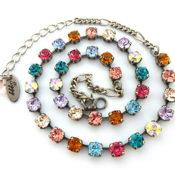 6mm Swarovski crystal necklace Made with CRYSTALLIZED™ - Swarovski Elements -multi colored- rainbow - **SELECT-A-FINISH**